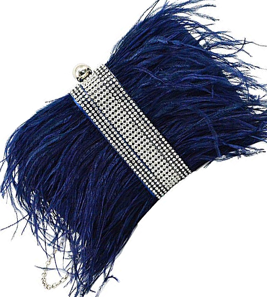 Navy Ostrich Feather Clutch Bag with Crystals. Winter Handbags. Winter Fashion. Feather accessories. What to wear to a Winter Wedding. Winter Mother of the Bride Outfits 2020.