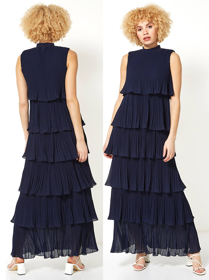 Dress for January Wedding Guest 2021. February wedding guest outfits 2021. What to wear to a February Wedding 2021. Navy pleated maxi Dress. What to wear for a Spring Wedding 2021. What to wear for a Late Winter wedding 2021. Ladies Wedding Guest Outfits 2021.