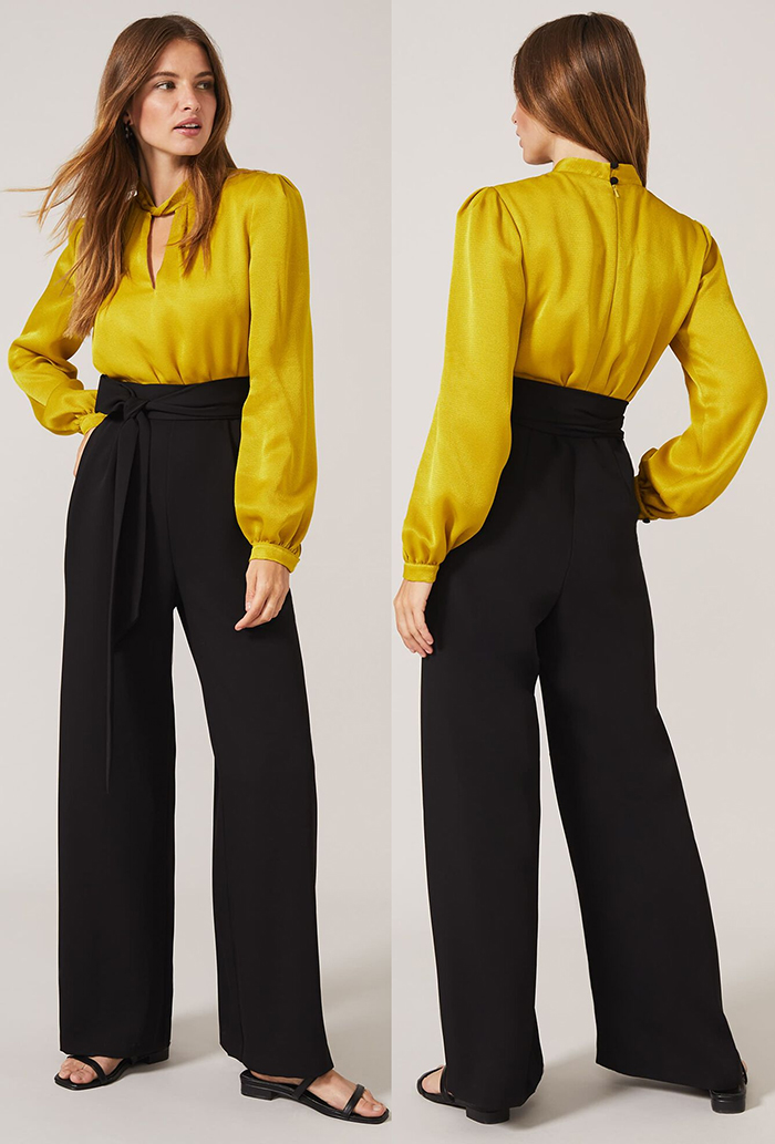 Mustard Yellow Jumpsuit for a Winter Wedding Guest 2020. Autumn Winter Fashion 2020, What to wear to a Winter wedding 2020. What to wear for a Winter Wedding 2020. Winter Wedding Guest Outfits 2020. Phase Eight Jumpsuit 2020. Jumpsuits for Autumn Winter 2020.