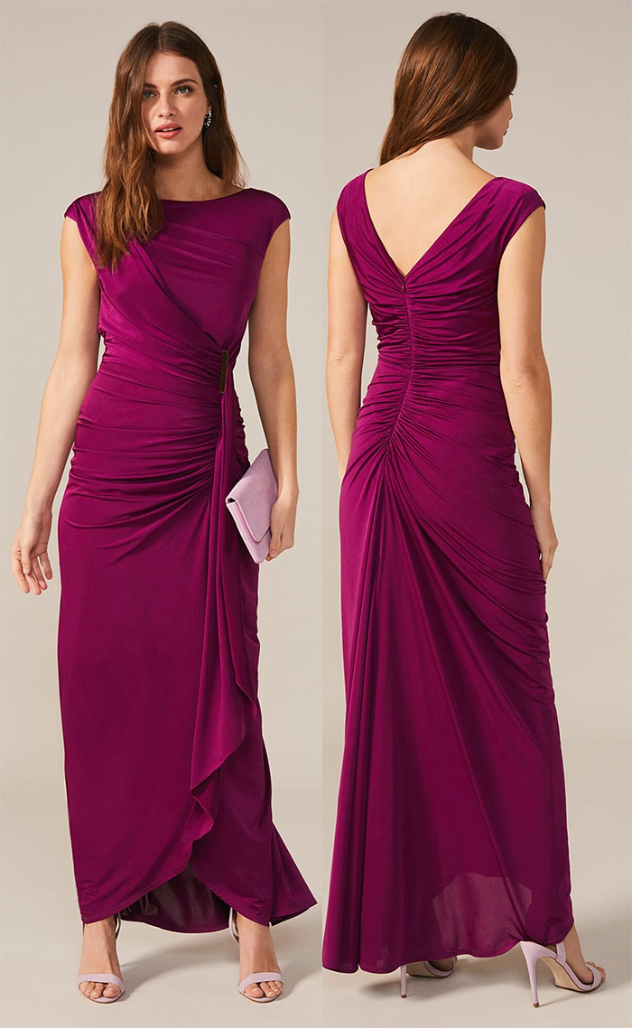 Plum Long Dress for Winter Wedding 2020. Winter wedding guest outfits 2020. What to wear to a November wedding 2020. Winter Wedding outfit ideas 2020. Plum Pink Maxi Dress 2020. What to wear for a Winter wedding 2020. Plum Bridesmaids dress 2020.