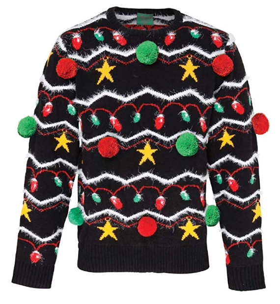Big Ugly Christmas Sweaters 2019. Best Ugly Christmas Jumpers 2019. Bright Christmas Jumper/ Christmas Jumper with Big Pom Poms. Gifts for Him. Funny Sweaters. Funny Christmas Gifts 2019. Gift ideas for Dad. Really Bad Christmas Jumpers 2019.
