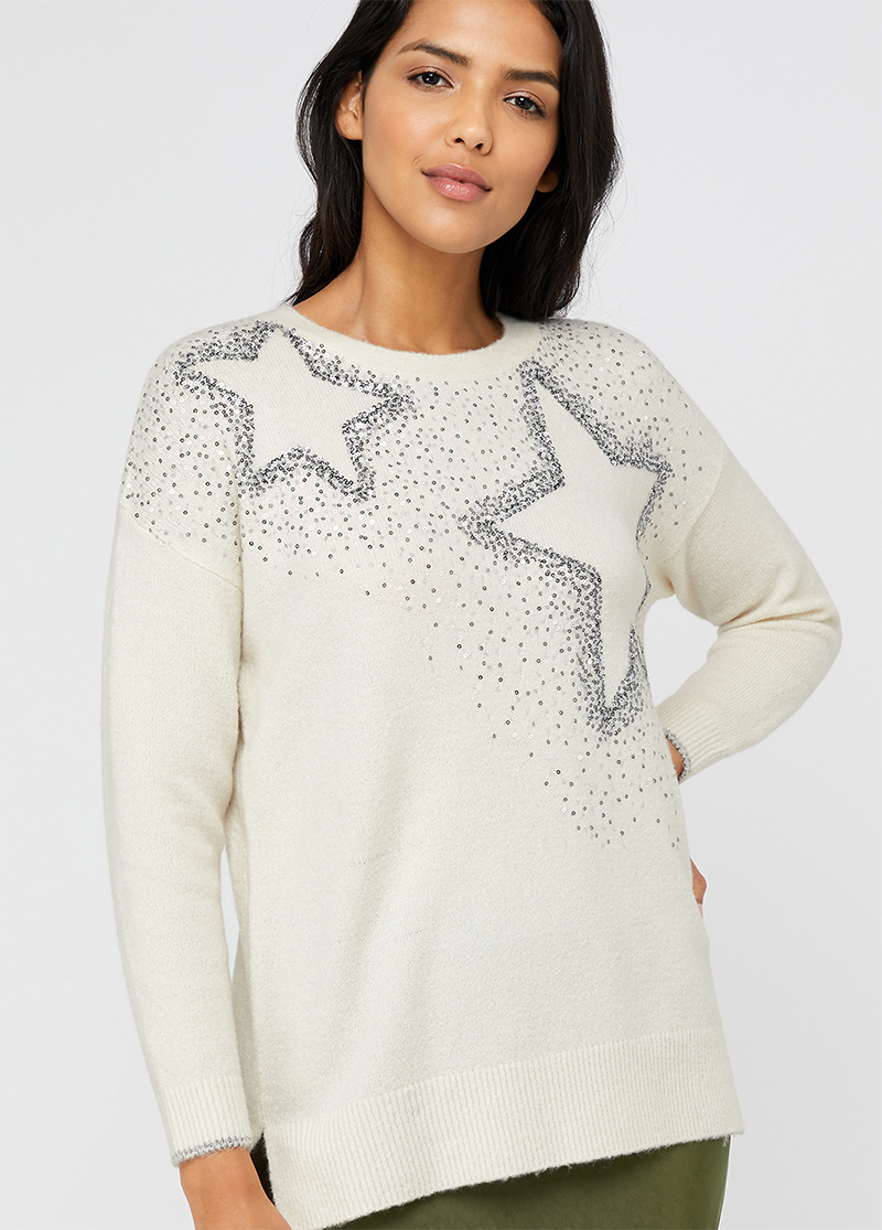 Best Christmas Jumpers 2020. Christmas Stars Christmas Jumper. Sequin Christmas Sweaters 2020. Best Festive Jumpers 2020. Christmas Jumpers for Mum 2020. Gifts for her 2020. Christmas Gifts for Mum 2020. Fun Christmas Jumpers for Mum 2020.