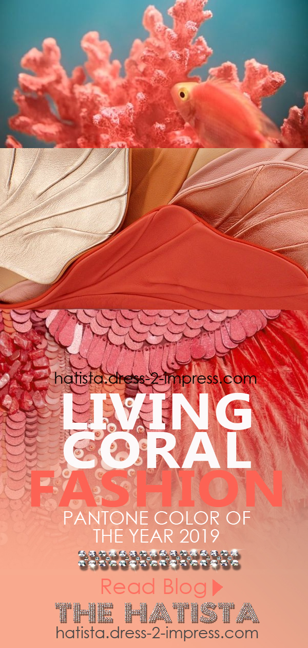 What to wear with Coral. Coral Outfit ideas. How to wear the colour Coral. Pantone Living Coral. Pantone Colour of the Year 2019 Living Coral. Living Coral outfit inspiration. What to wear with a Coral Dress
