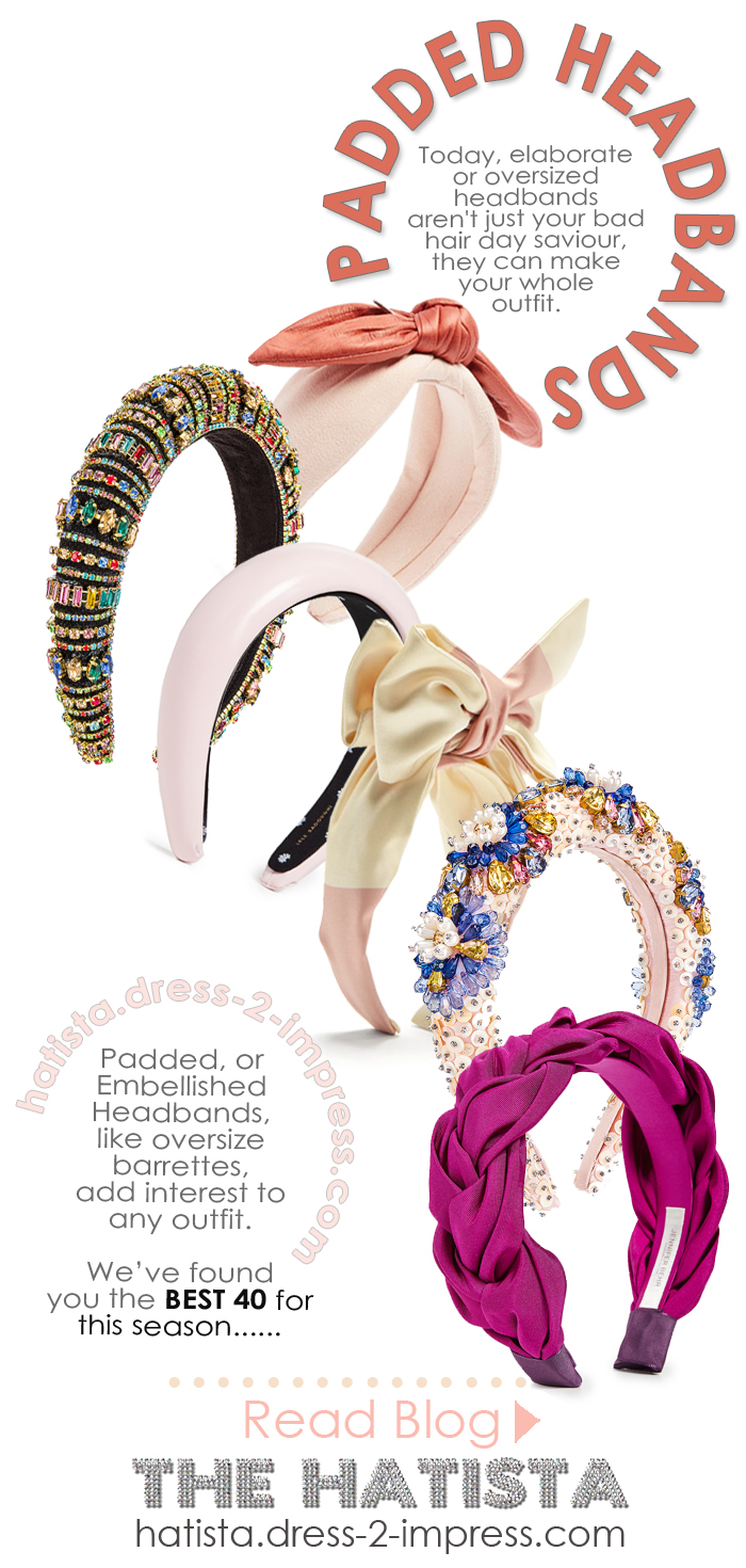 Where to find the best embellished headbands. The best padded headbands 2020. Gift ideas for a fashionista. Instagram trends 2020 - embellished headbands. Find the seasons best padded headbands. Prada Padded Headbands. #fashionista #giftideas #headbands