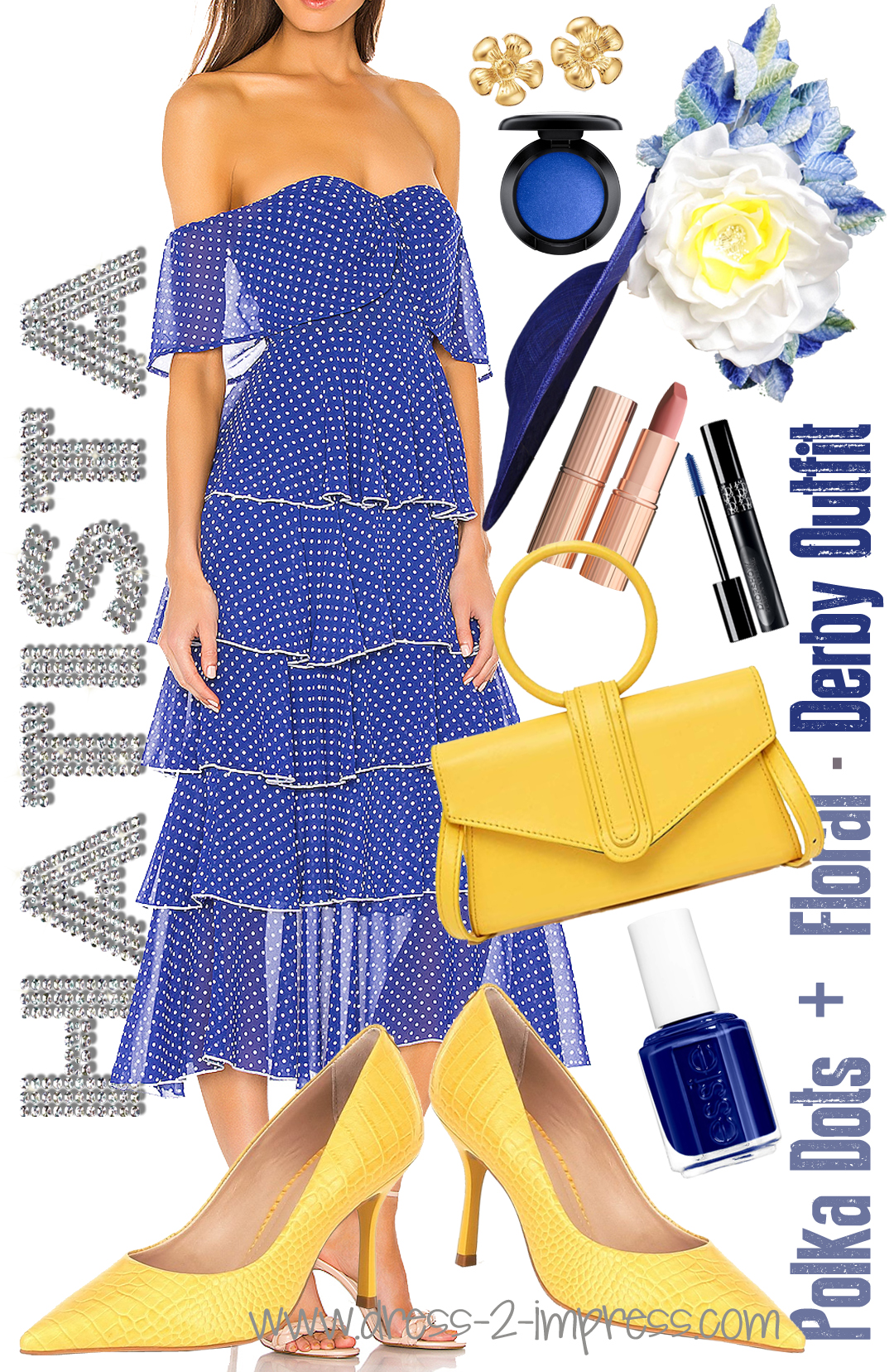 Yellow and Blue Kentucky Derby outfit 2020. How to Wear Yellow 2020. On trend colours for Summer 2020. Outfit ideas with Yellow 2020. What to wear for the Kentucky Derby 2020. Summer Wedding outfit ideas 2020. What to wear for a day at the Races 2020.