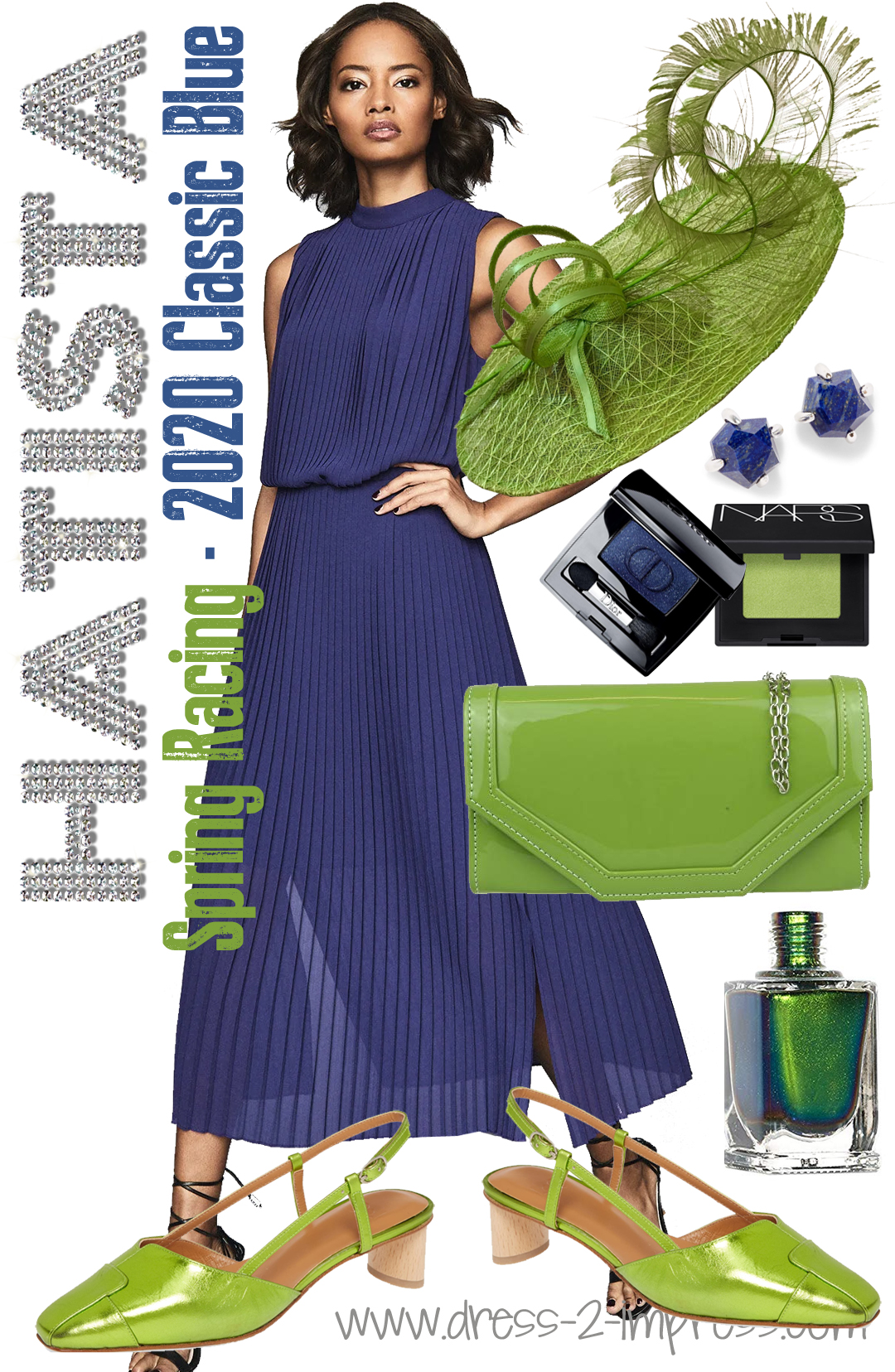 Outfits in Pantone Classic Blue 2020. How to wear Pantone Classic Blue. Pantone Color of the Year 2020 Classic Blue. Classic Blue Wedding Guests outfits. What colors to wear with Classic Blue. Blue and Green Colour Combo outfit ideas.
