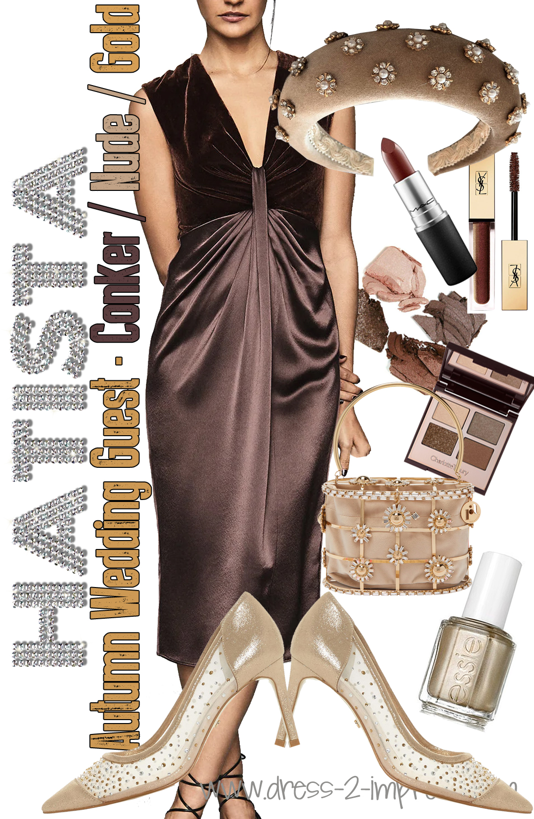 How to dress for a Fall wedding. Autumn Wedding Guest Outfits Ideas 2020. What to wear for an Autumn Wedding 2020. Fall wedding outfit ideas 2020. Wedding Guest outfits for a Fall wedding 2020. Chocolate Brown Autumn outfits. What to wear with a Brown Dress 2020. What to wear with Gold 2020. Chocolate Brown and Gold outfit ideas 2020.