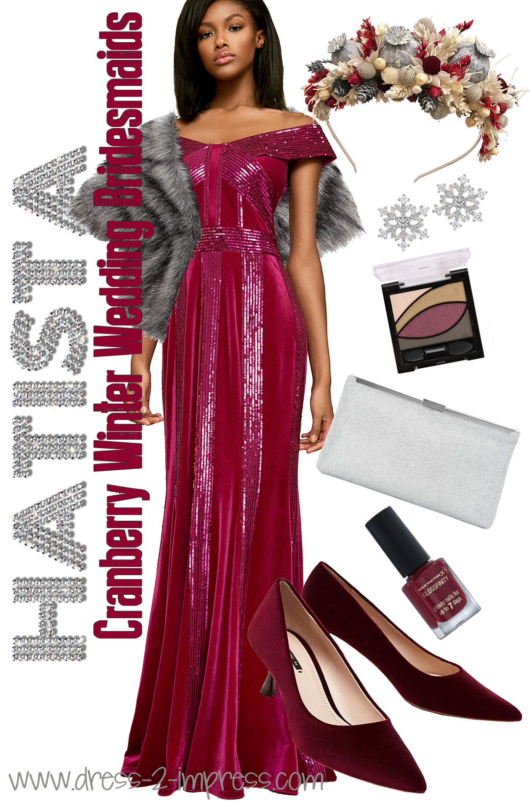 Winter Weddings Bridesmaids Outfits. Cranberry and Silver Winter Wedding Ideas. Burgundy and Silver Bridesmaids Outfits. What colors go with Burgundy. Velvet Bridesmaids Dresses. Winter Wedding Bridesmaids Dresses. Winter Wedding ideas. What to wear for Winter Wedding. #bridesmaids #outfitinspiration #outfitideas