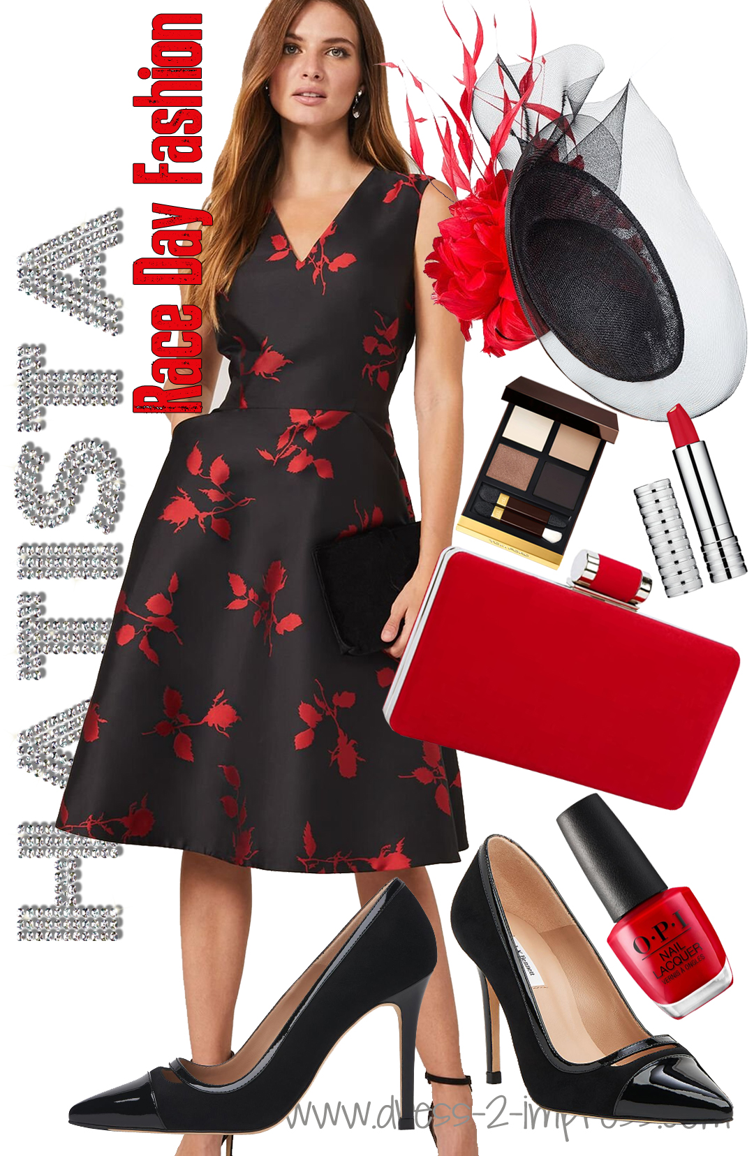 What to wear for Royal Ascot 2021. Royal Ascot Dress code 2021. Black and Red Royal Ascot Outfit 2021. Outfits for Royal Ascot. Dresses for Royal Ascot 2021. What to wear to the Races. Royal Ascot Outfit Inspiration 2021. Floral Dress for Royal Ascot. Hats for Royal Ascot 2021.