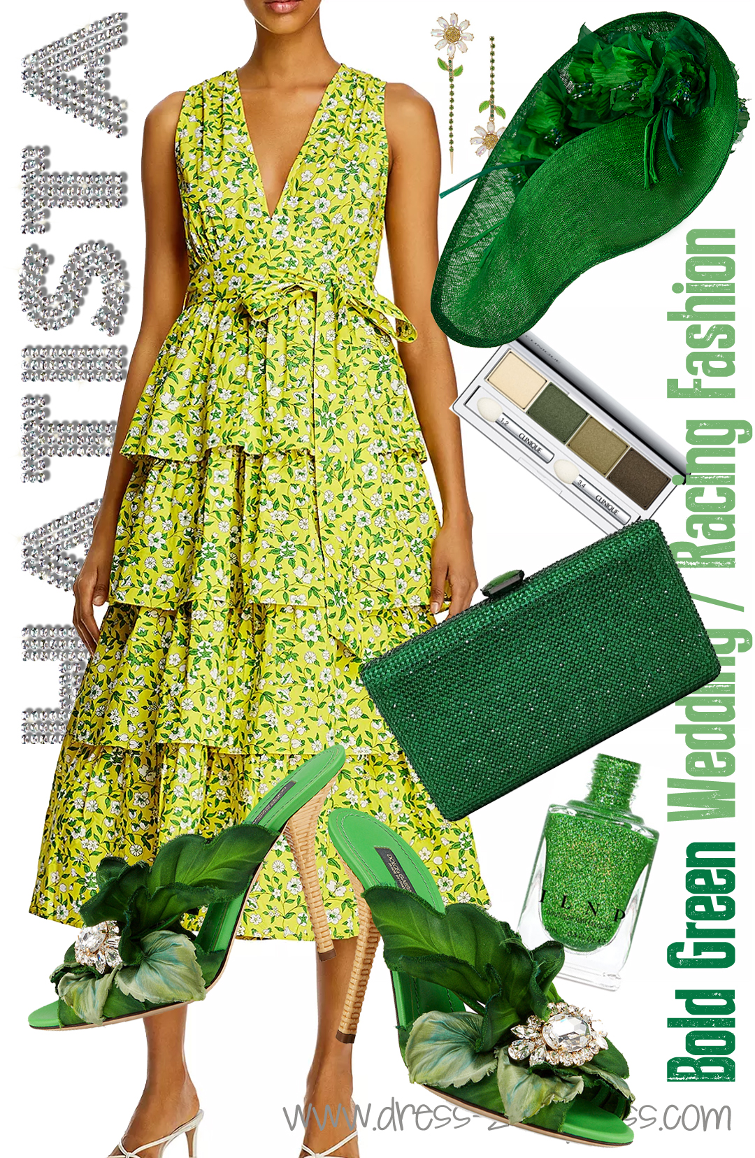 How to Wear Green 2020. Floral outfits for Kentucky Derby 2020. What to wear with a Green Dress. How to wear Green. Green outfit ideas 2020. What to wear for a Summer wedding 2020. Green Floral Kentucky Derby Outfit 2020. What to wear for a day at the Races 2020.