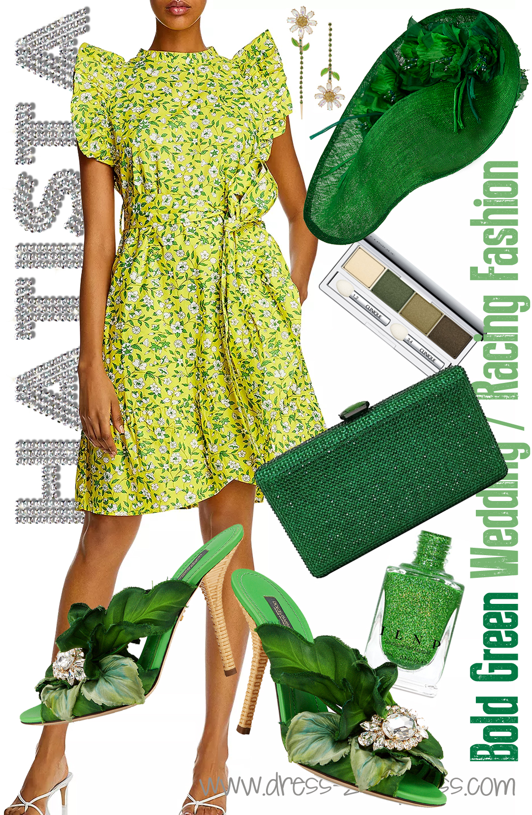 How to Wear Green 2020. Floral outfits for Kentucky Derby 2021. What to wear for the Kentucky Derby 2021. How to wear Green. Green outfit ideas 2021. What to wear for a Summer wedding. Green Floral Kentucky Derby Outfit 2021. What to wear for a day at the Races 2021.
