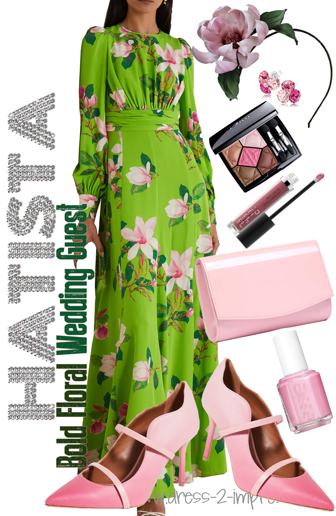 How to Wear Baby Pink. What to wear with a Green Dress. Green and Pink outfit ideas 2020. How to wear Bright Green. What colours go with Baby Pink. Pink outfit ideas. What to wear for a Spring wedding 2021. Spring Wedding Guest Outfit 2021. Pink Floral Kentucky Derby Outfits 2021. Spring Wedding outfit ideas 2021.
