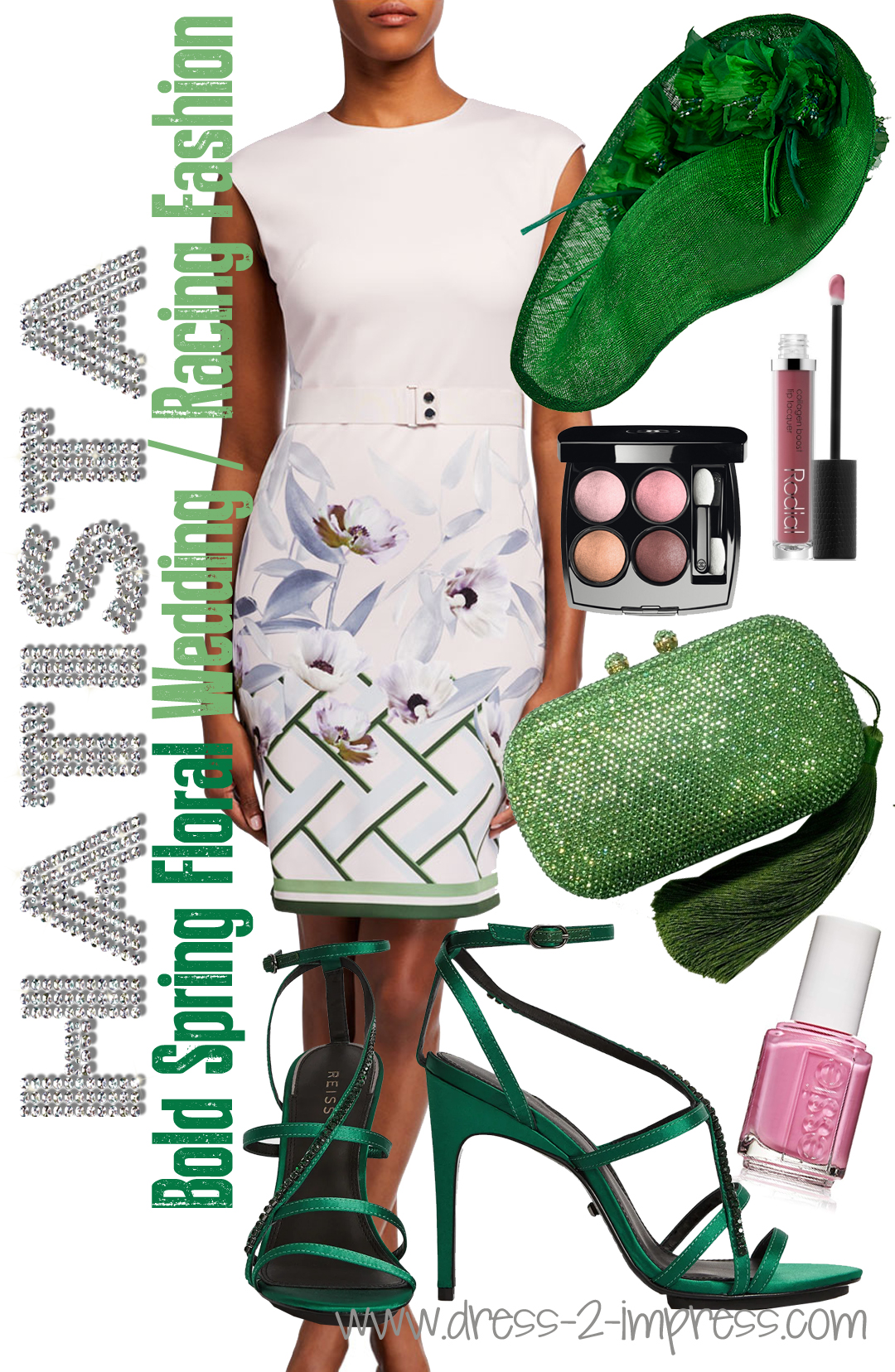 How to Wear Green. Floral outfits for Royal Ascot. What to wear with a Green Dress. How to wear Green. Green outfit ideas. What to wear for a spring wedding. Green Floral Kentucky Derby Outfit. Spring Wedding outfit ideas. What to wear for a day at the Races.