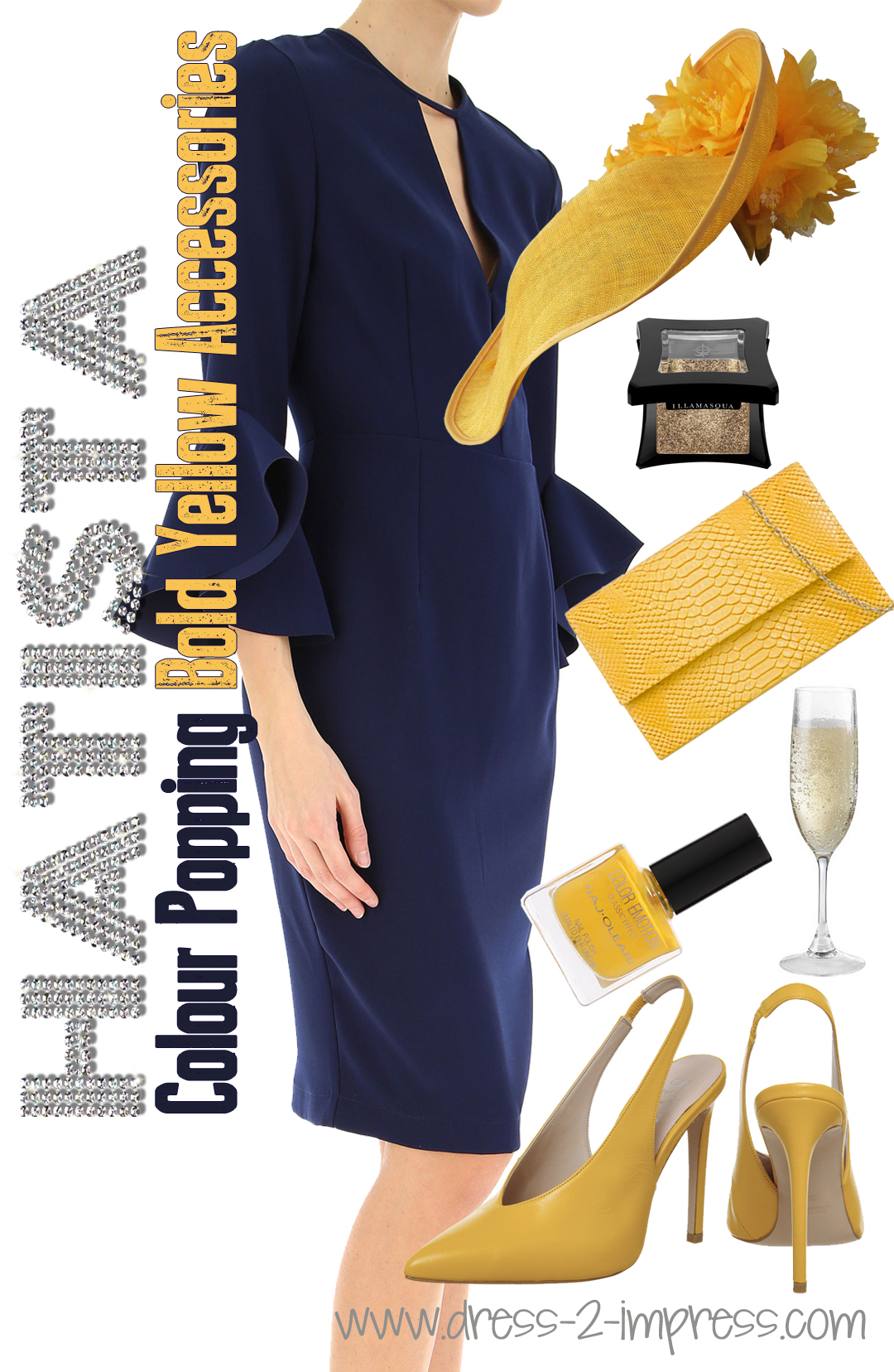 How to Wear Yellow for Racing Fashions. Yellow Hats for the Races. What to wear to the Races. What to wear for the Kentucky Derby. from THE HATISTA www.dress-2-impress.com #racingfashion #wearyellow #outfitinspiration #outfitideas #yellowoutfits #colourpop #colorpop