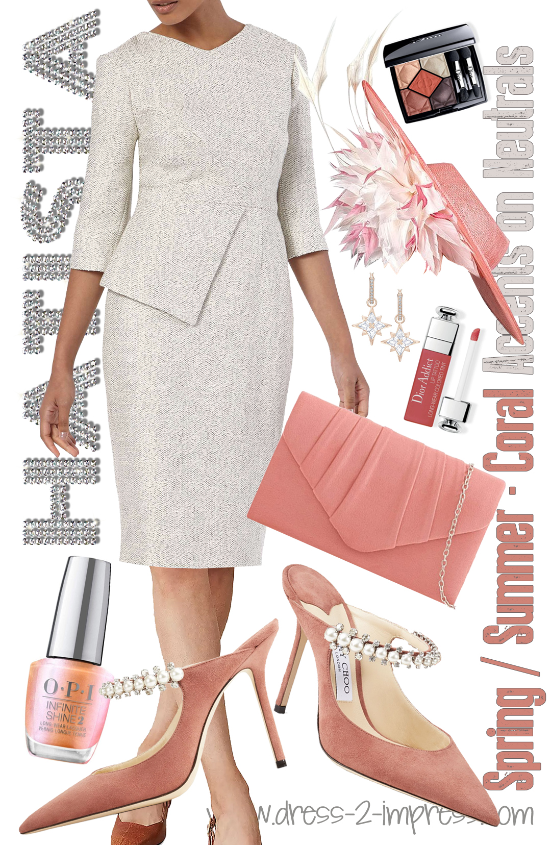 How to wear Coral 2021. The Fold Eaton Tweed Dress as seen on Kate Middleton. The Fold Dress like Kate Middleton Wore. Tweed Mother of the Bride Dress 2021. Outfit inspiration for Mother of the Bride 2021. Outfit ideas with Coral 2021. Jimmy Choo Bing Shoes 2021. Spring Wedding Guest outfits 2021. Coral Mother of the Bride Hat 2021.  Coral Mother of the Bride Outfits 2021. Coral Outfit ideas for the races 2021. Outfits for the races 2021.