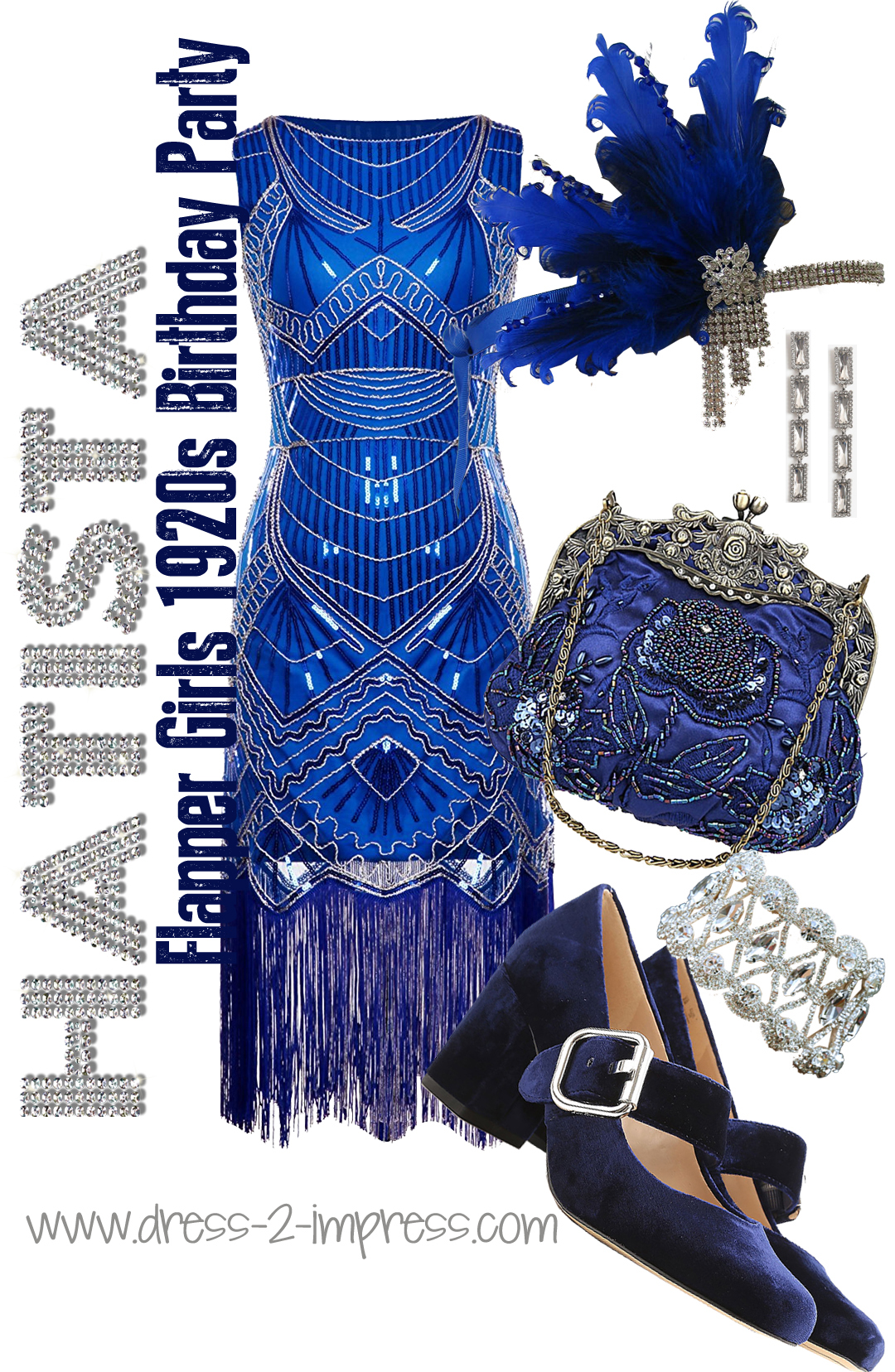 Flapper Girls Dress, Royal Blue Flapper Girl Outfit inspiration, ideas to wear for a 1920s Party Outfit. Great Gatsby Flapper Girl Theme New Years Eve Christmas or Birthday Party, Flapper Girls Outfit ideas, What to wear to a 20's theme New Years Eve Party