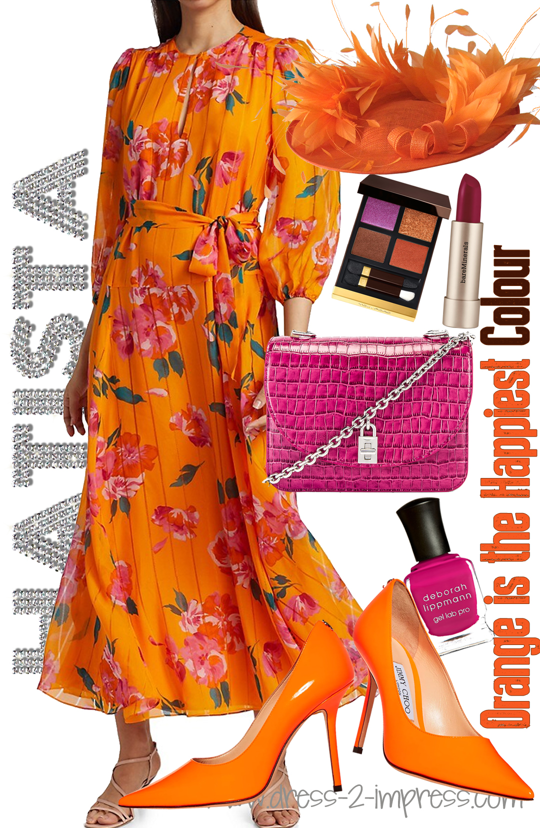 What to wear for Royal Ascot. Bold Floral Print Dresses. Floral Outfits for the Races. Royal Ascot Fashion. Dresses for Royal Ascot. Outfit inspiration ideas for the races or summer weddings. #summerweddings #outfits #orangeoutfits #royalascot What to wear to Royal Ascot