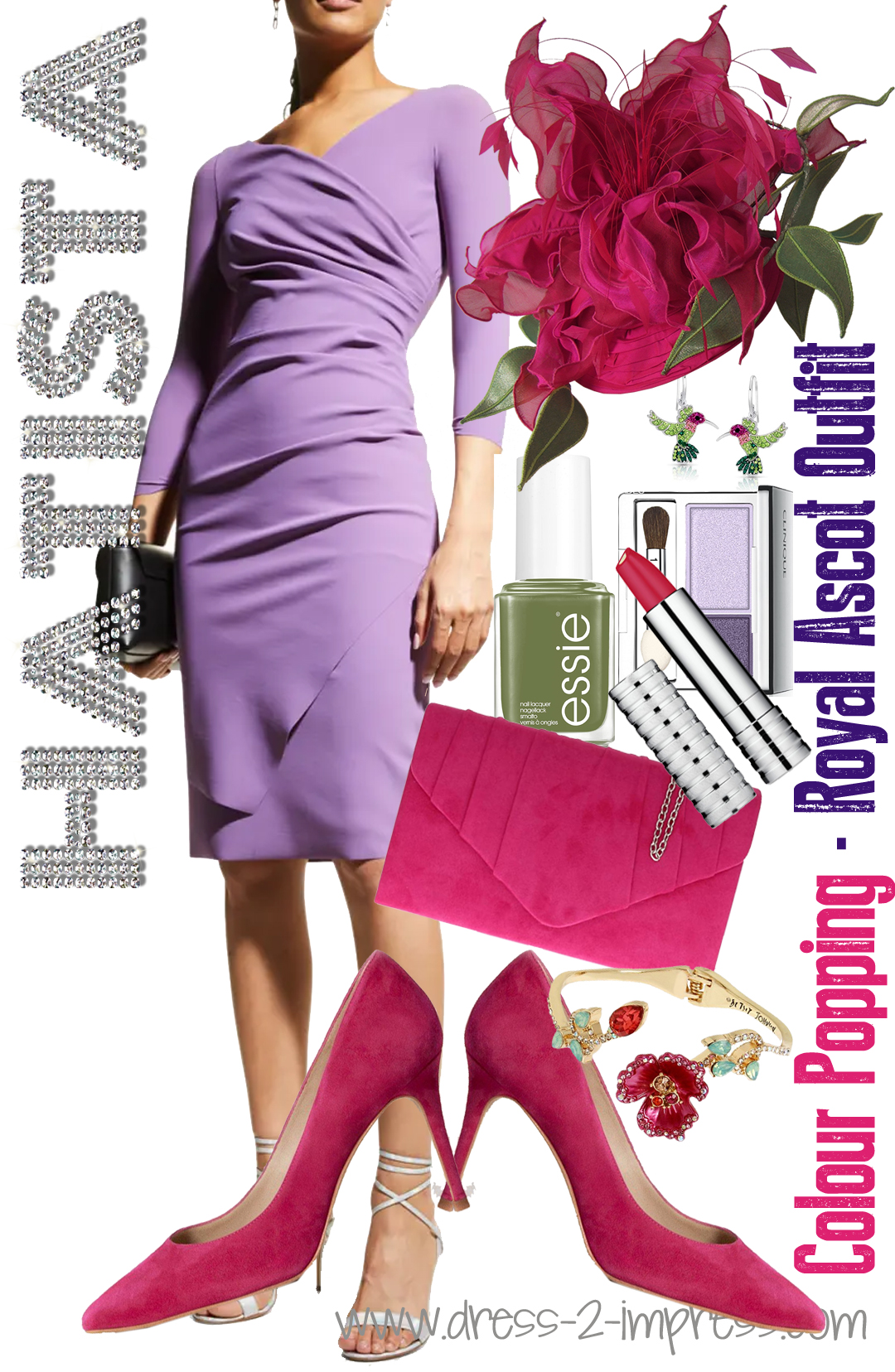 What to wear for Royal Ascot. Hot Pink and Lilac Outfit Combination. What to wear with a Lilac Dress. Outfits for Royal Ascot. What to wear to Ascot Races. How to wear pastels. What colours go with Olive Green. Royal Ascot Outfit Inspiration #royalascot #fashion