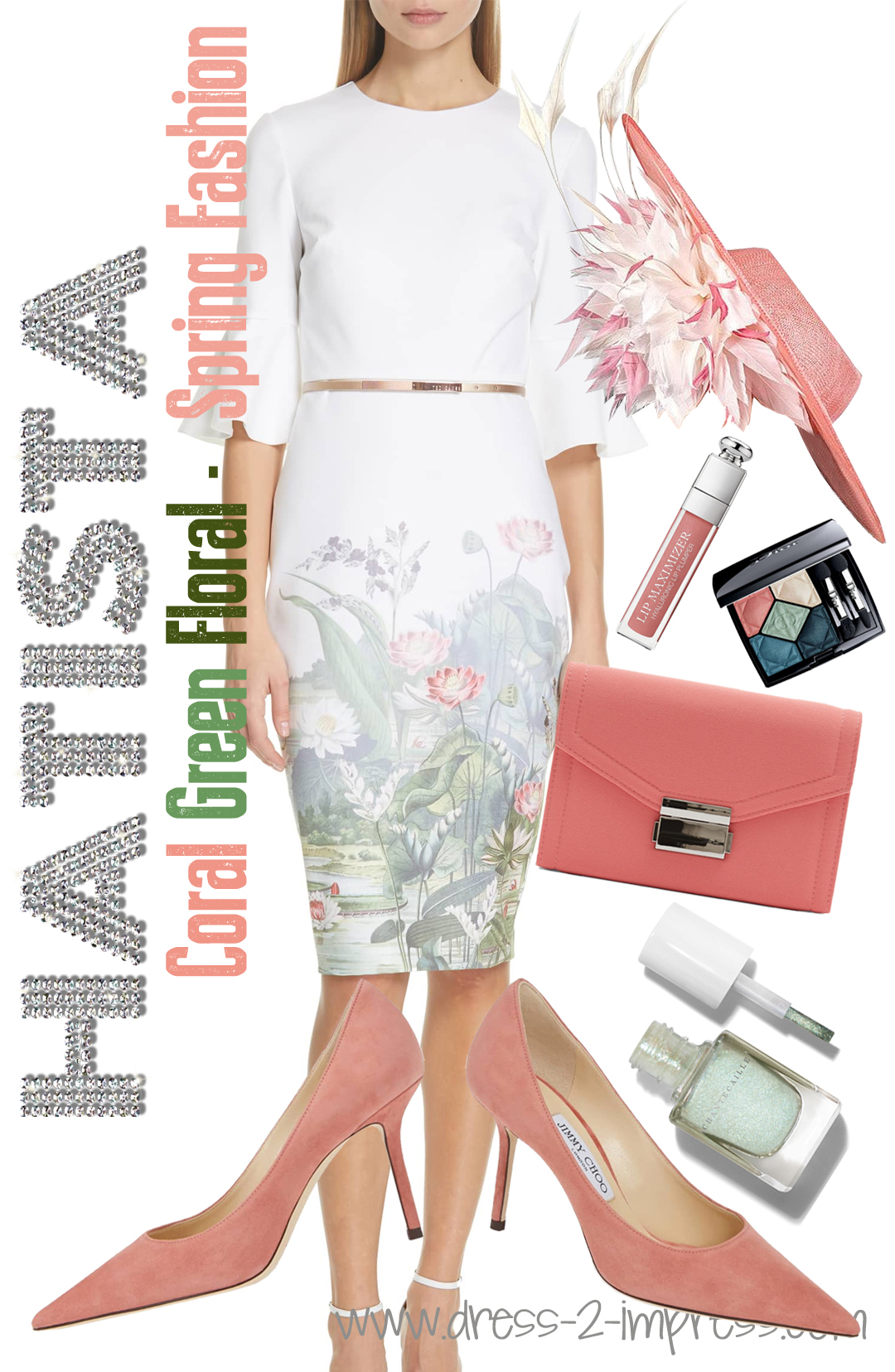 How to Wear Coral. Floral Kentucky Derby Outfits. What to wear for the Kentucky Derby. What to wear to the Races. Outfits for the Races. What to wear for a Summer Wedding. Mother of the bride outfits. Ted Baker Azania Dress. Jimmy Choo Coral Shoes