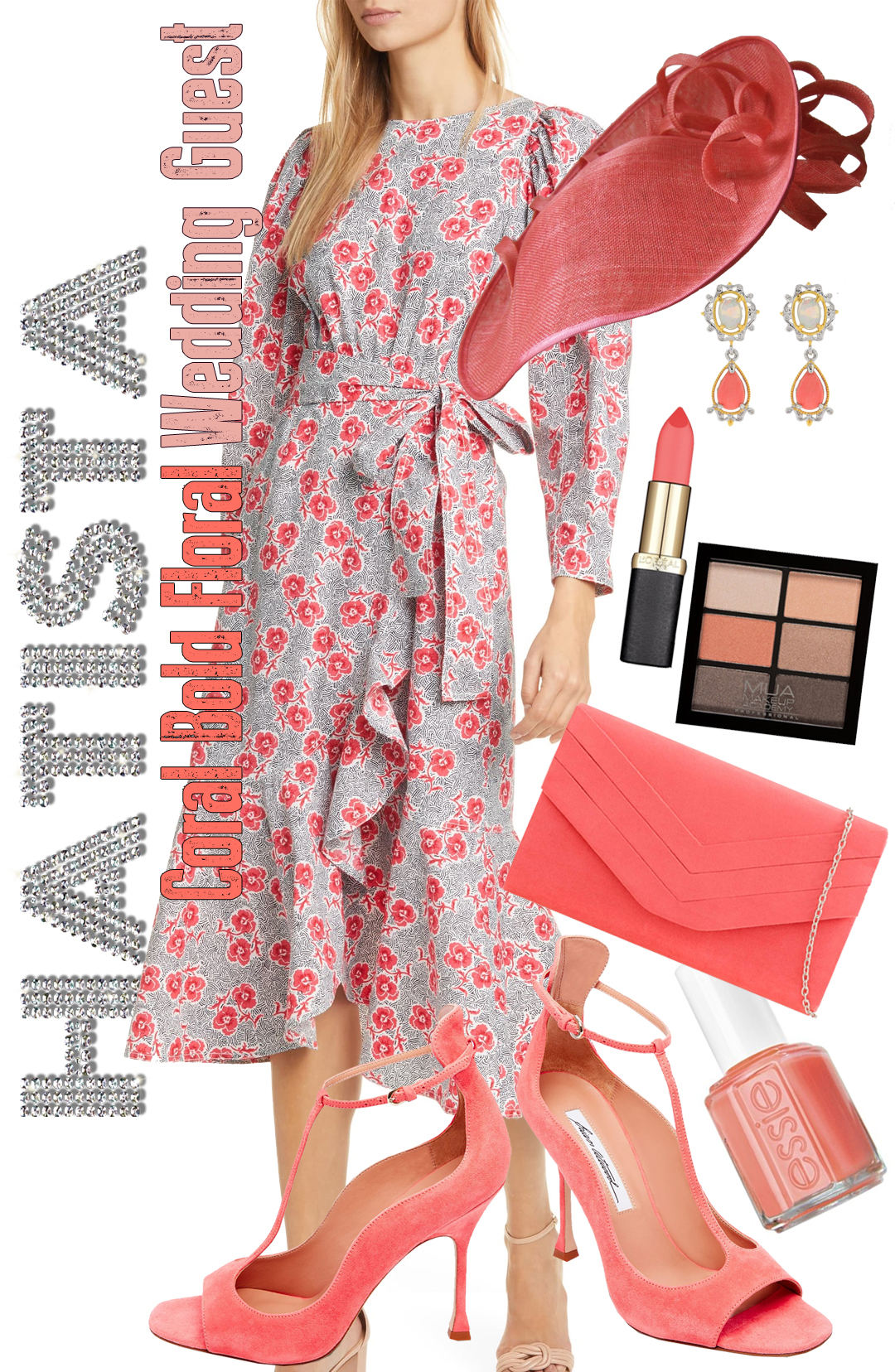 How to Wear Coral. How to Wear Living Coral. Outfit ideas with Living Coral. Coral Mother of the Bride Outfit. Coral outfit ideas. What to wear for a spring wedding. Spring Wedding outfit ideas. What to wear for a day at the Races.