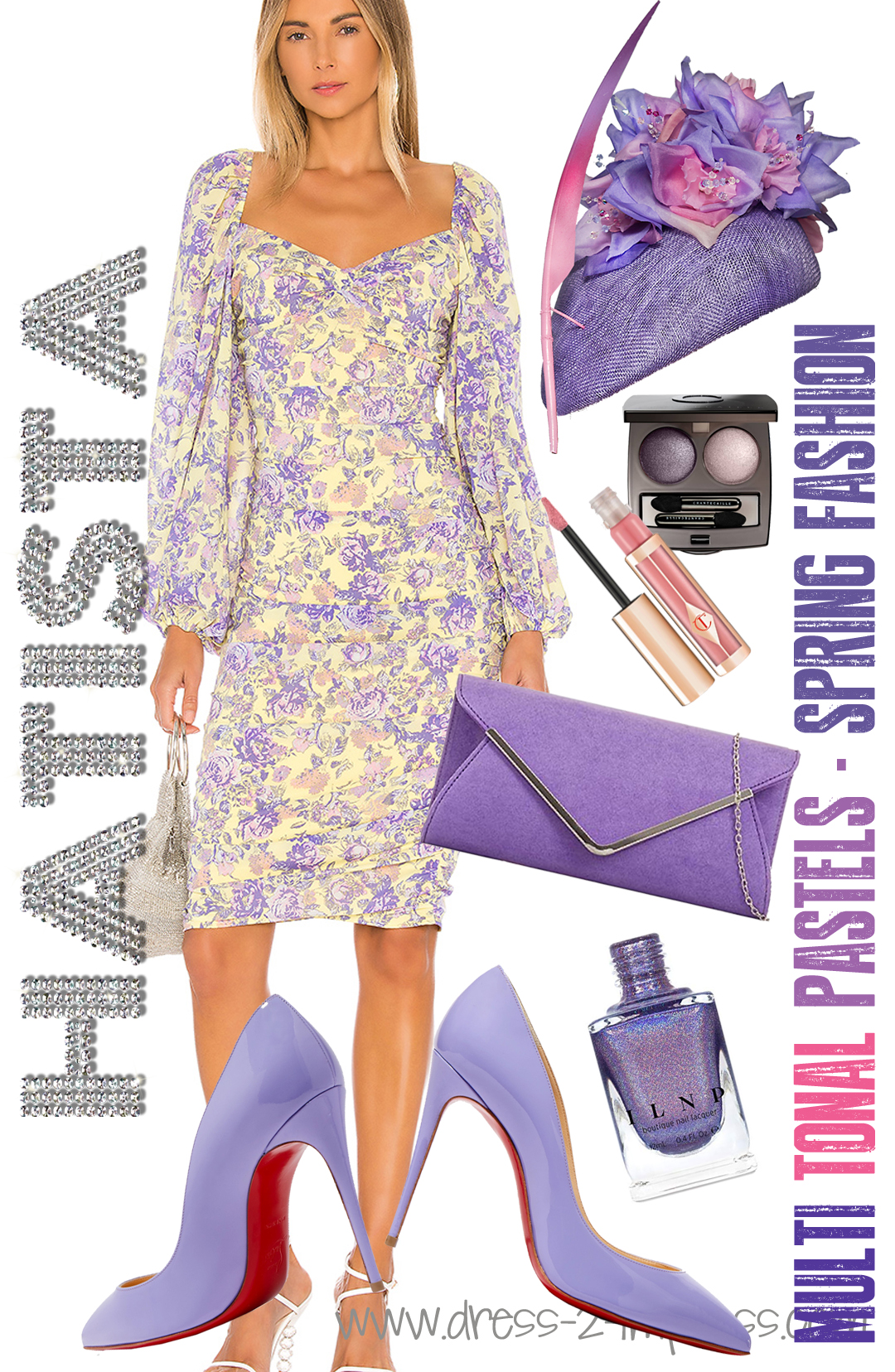 How to Wear Pastels. What to wear with Lilac. Pastel Mother of the Bride Outfits. What to wear to the races. What to wear for the Kentucky Derby. What to wear to a Summer Wedding. Floral Hats. Outfit Ideas for the Races. Lilac Pastel Kentucky Derby Outfit.