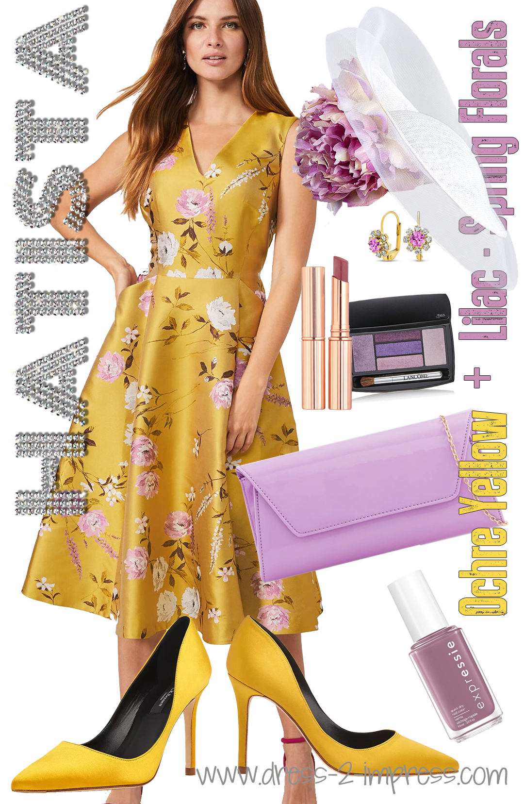 Outfits for Spring Summer Mother of the Bride 2021. Outfit inspiration with Pantone Color of the Year 2021 - Illuminating Yellow. What to wear to a Spring Summer Wedding 2021. Ladies outfits for Weddings 2021. Wedding Guest outfit ideas 2021. Floral Outfits for Wedding Guests 2021. How to wear Yellow 2021. Spring Wedding Mother of the Bride Outfit 2021.