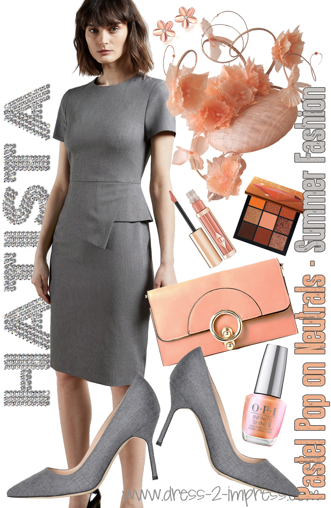 How to wear Pastels 2021. What to wear to for Royal Ascot 2021. Peach Mother of the Bride Fascinator 2021. How to wear Pastel Colours 2021. Peach Mother of the Bride Hat 2021. Peach Royal Ascot Hat 2021. Outfit ideas with Peach 2021. Peach fashion ideas 2021. Manolo Blahnik Grey Shoes 2021. What colours go with Peach. Peach and Grey outfits 2021.