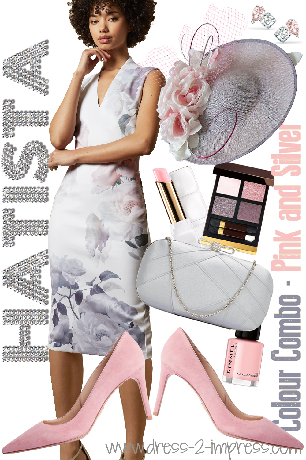 Pink and Silver outfits ideas. Outfits with Baby Pink. What to wear to the Kentucky Derby. Outfits for Royal Ascot. Pastel outfits for a Summer Wedding. Pink Mother of the Bride outfits. Pink and Silver Mother of the Bride Hat. What to wear for a Day at the Races