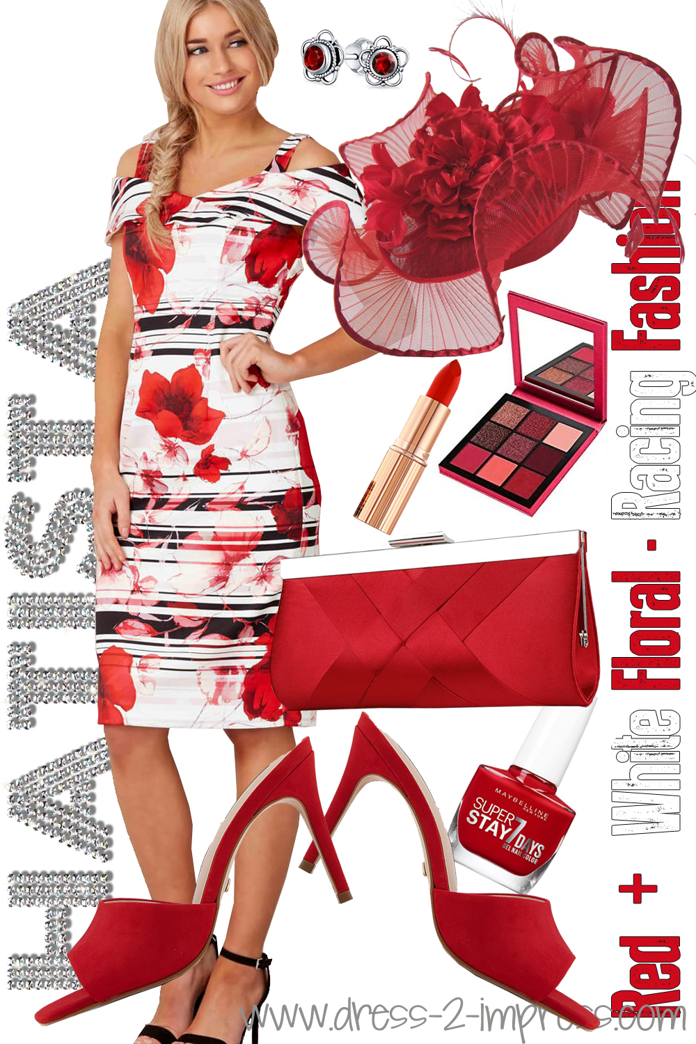 What to wear for Royal Ascot 2021. Red and White Outfit for Royal Ascot 2021. Bright outfits for Royal Ascot 2021. Big Hats for Royal Ascot 2021. Outfits for the Races 2021. What to wear to the races 2021. Outfits for Royal Ascot. Red and White Mother of the Bride outfits 2021. Royal Ascot Dress 2021. Big Red Fascinators. Red Mother of the Bride Hats 2021. Fashion Ideas for Day at the Races 2021.