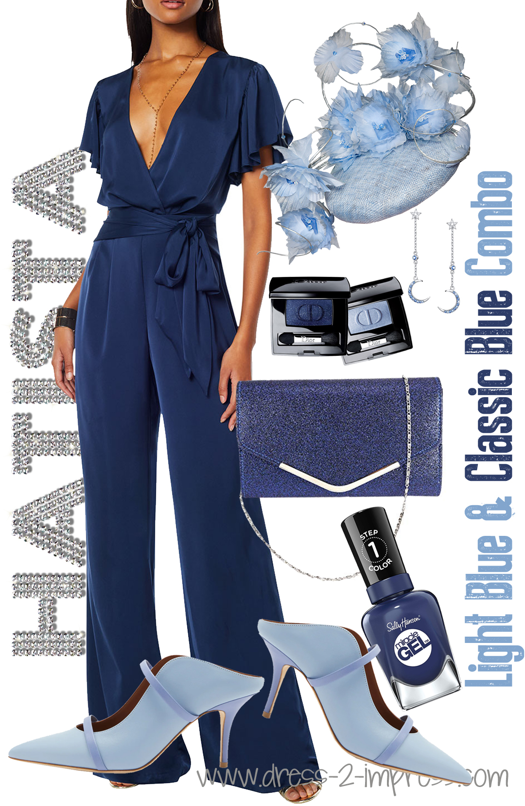 Outfits in Pantone Classic Blue 2020. How to wear Pantone Classic Blue. Pantone Color of the Year 2020 Classic Blue. Classic Blue Wedding Guests outfits. What colors to wear with Classic Blue. Classic Blue and Serenity Blue Colour Combo outfit ideas. What to wear with a blue dress for the races. Royal Ascot outfit ideas 2020.