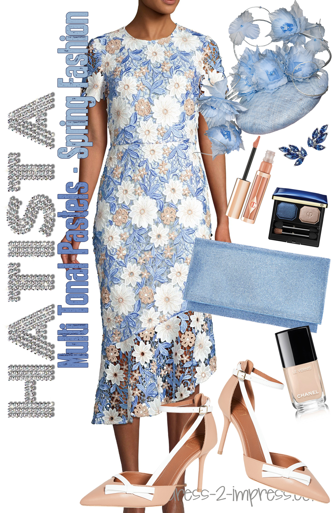 Sky Blue Lace Dress. Outfits with Pastel Blue. What to wear to the Kentucky Derby. Outfits for Royal Ascot. Pastel outfits for Melbourne Cup. What to wear to the Dubai World Cup - Need outfit inspiration for summer weddings? What to wear for a Day at the Races