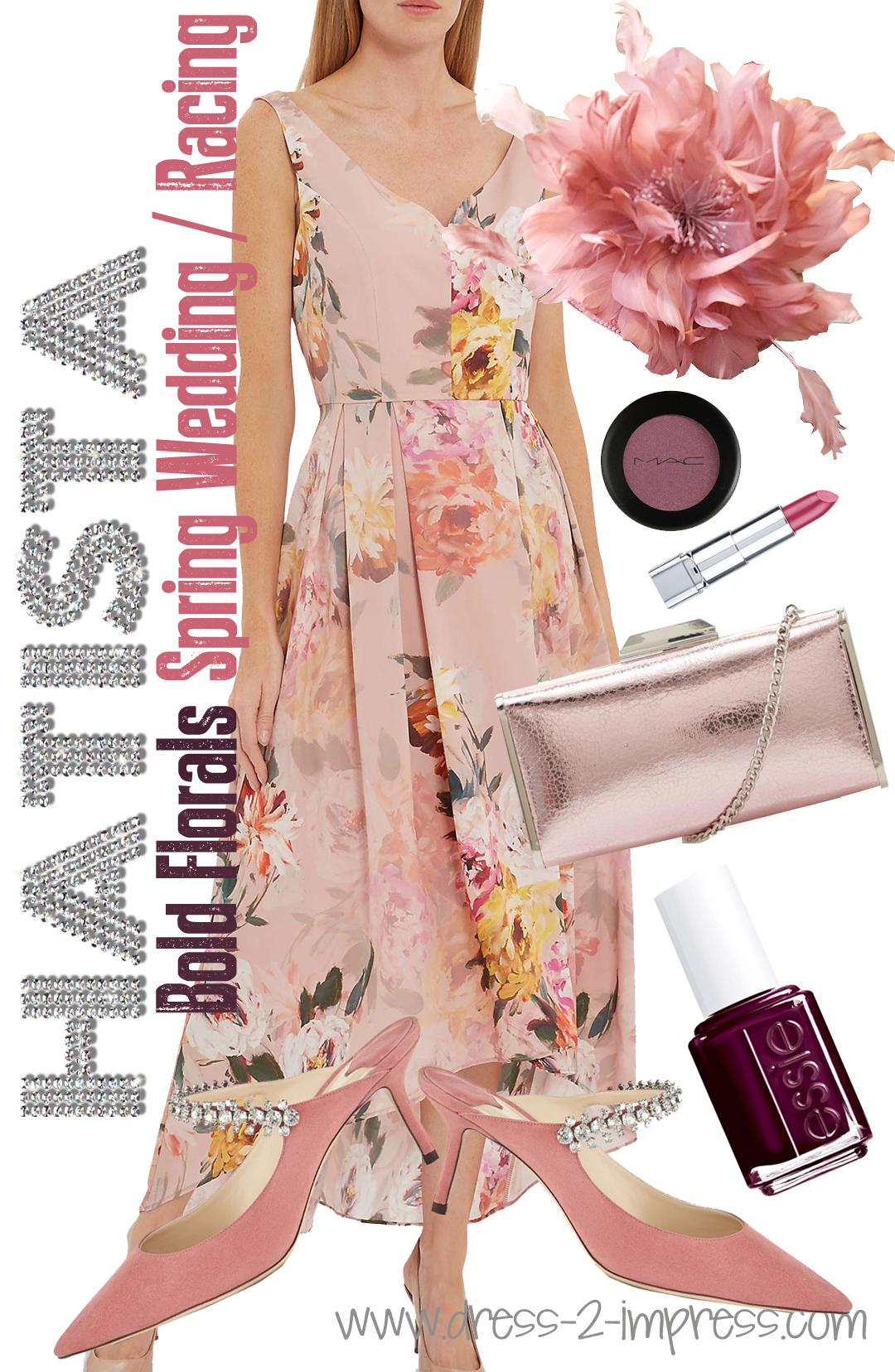 Spring Wedding Guest Floral Outfit. Outfit ideas for Royal Ascot Ladies Day. What to wear for Royal Ascot. Floral Dresses. What to wear for Ladies day at the races. Royal Ascot Dress Code. #wearpink #royalascot #ascotoutfits #floraldress #jimmychoo #outfitideas