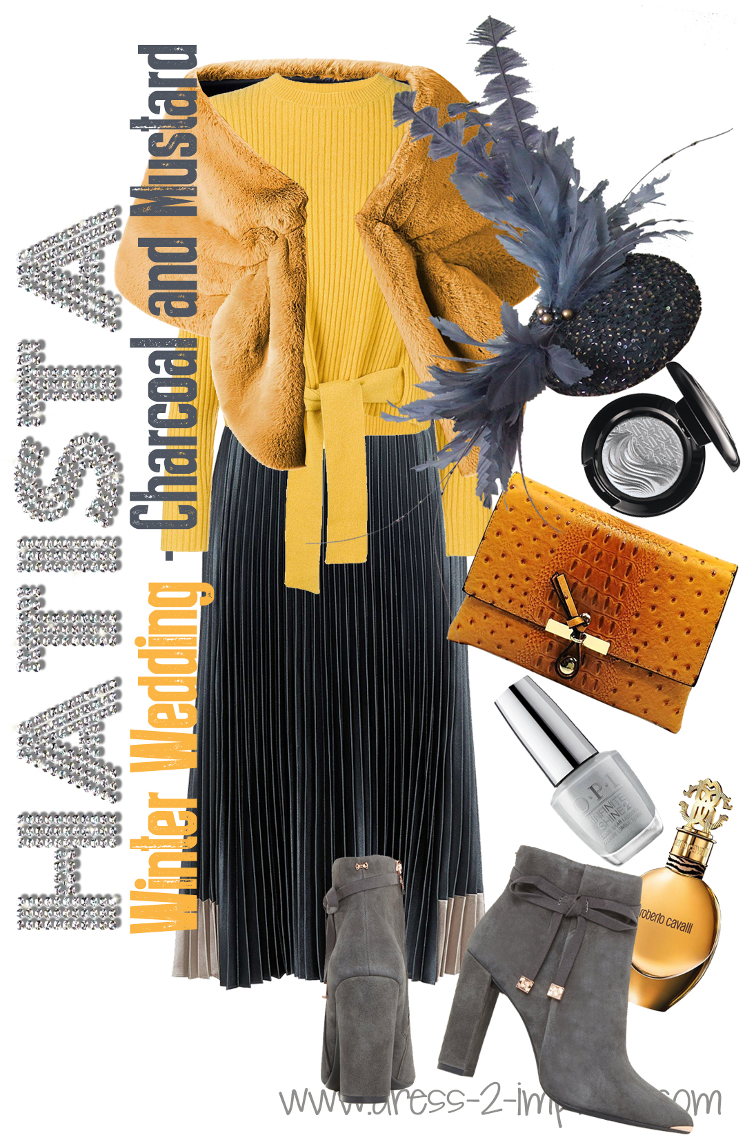 How to dress for a Winter Wedding. Charcoal Grey and Mustard Yellow Outfits. What to wear to a Winter Wedding. Winter Wedding Guests outfits. How to dress for a winter wedding. What to wear with Chocoal Grey. How to wear Yellow. What colours go with Mustard.