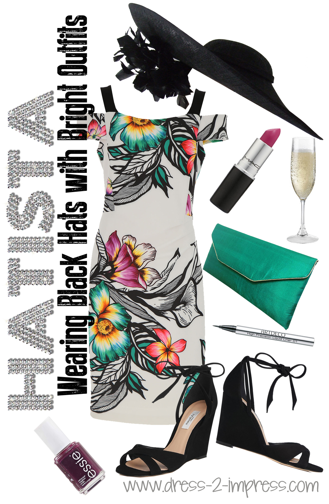 Bold Floral Prints and Black Hat, outfit ideas and Tips on what to wear to Royal Ascot - Need outfit inspiration ideas for what to wear for the races or summer weddings? Royal Ascot Style Guide 2018. Floral outfits. Read blog from THE HATISTA www.dress-2-impress.com #floraloutfits #fashionista #ladiesday #epsomderby #kentuckyderby #royalascot Outfit Ideas for Epsom Derby or Royal Ascot, Ladies Day at the Races