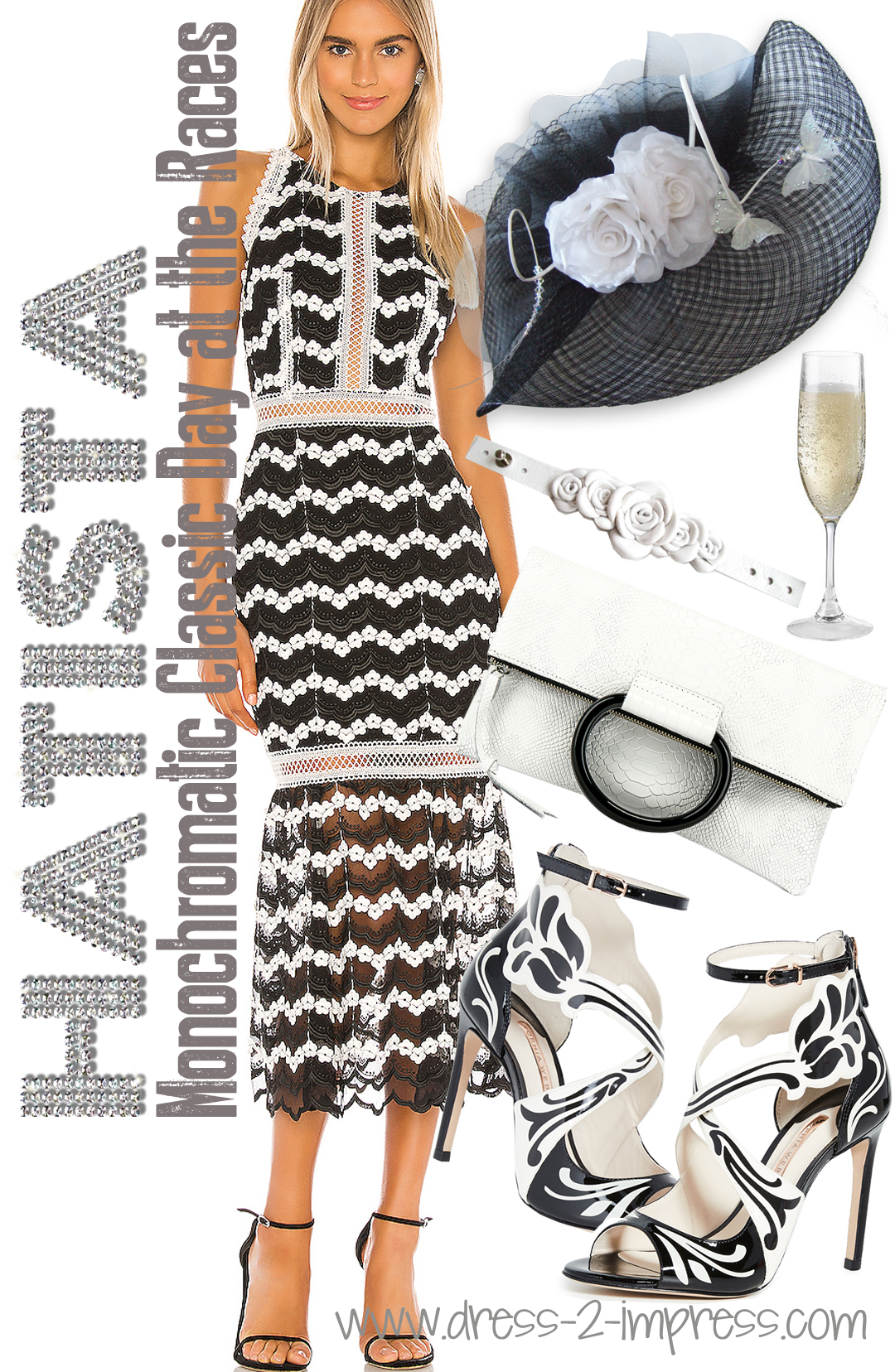 What to wear for Royal Ascot. Monochrome Fashion. What to wear with a White Dress. Outfits for Royal Ascot. What to wear to Ascot Champions Day. Black and White Outfits. What to wear to the Races. Royal Ascot Outfit Inspiration #racingfashion #royalascot #outfitinspiration #royalascotoutfits #racingfashion