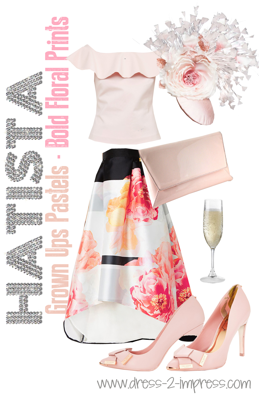 What to wear to Royal Ascot. How to wear pink. What to wear for the races. Outfits for Royal Ascot. Royal Ascot Hats #wearpink #fashionista #floraloutfits, Sophia Webster Shoes, Ted Baker Dress