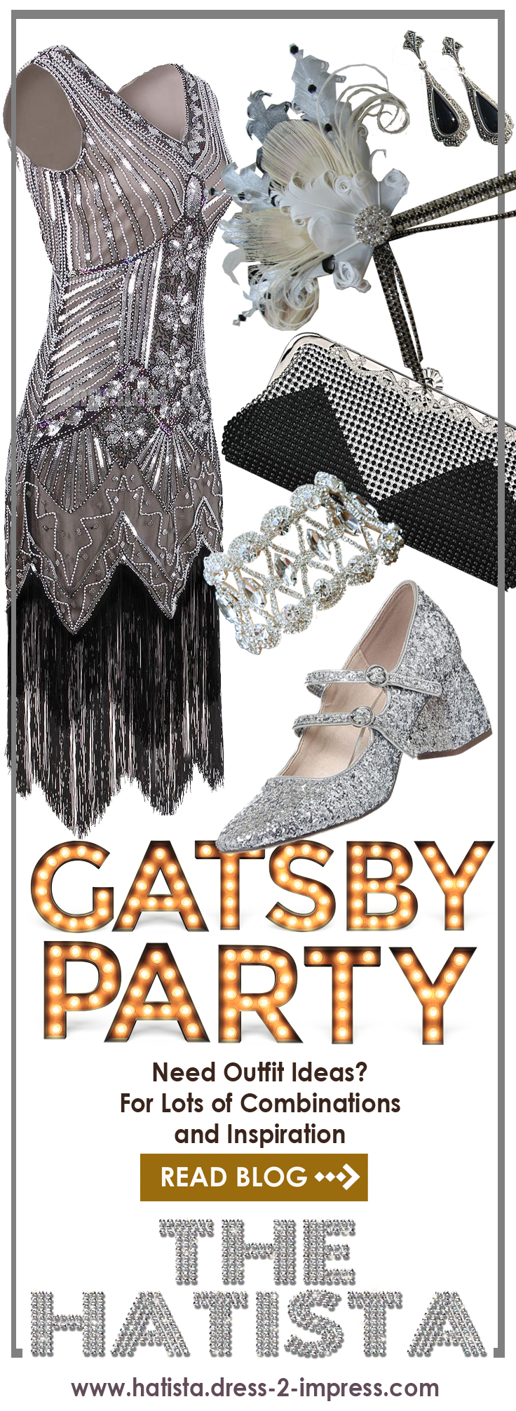 Outfit inspiration, ideas for a Gatsby Party. What to wear for Jazz Age Lawn Party or Gatsby 1920's Flapper Girl Christmas, Great Gatsby Party Outfits. Great Gatsby Party Costumes. 1920s New Years Eve Party, Birthday or Halloween Party from the Hatista #outfitideas #gatsbyparty