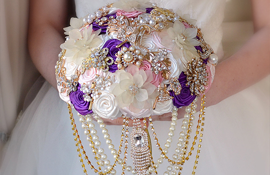 Ideas for a Mardi Gras Wedding, Mardi Gras Bridal Bouquet, Mardi Gras Brides.