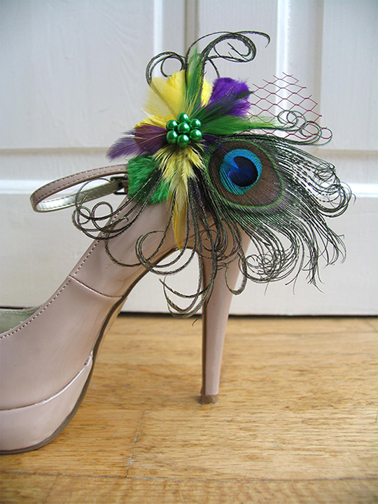 Mardi Gras Wedding inspiration. Mardi Gras outfits. Peacock Shoe Clips. Yellow Shoe Clips. Mardi Gras Bridesmaids Outfits. Mardi Gras Ideas. Planning a Mardi Gras Wedding