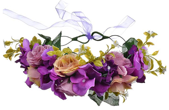What to wear to a Mardi Gras Wedding. Mardi Gras theme Wedding. Purple Flower Crowns. Mardi Gras Outfits