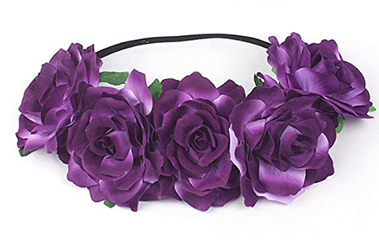 Flower Girls Outfits. Mardi Gras theme Wedding. Purple Roses Flower Crowns. Mardi Gras Outfits