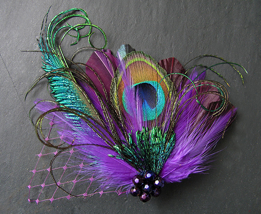 Purple Peacock Fascinator. Mardi Gras Wedding ideas. Mardi Gras bridesmaids outfits. Purple Fascinators. Ideas for Mardi Gras Wedding, Mardi Gras Bridesmaids. Planning a Mardi Gras Wedding