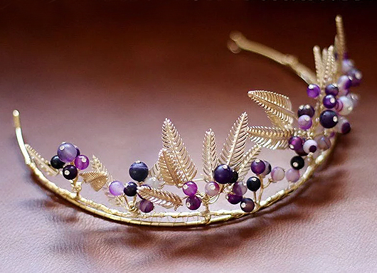 Purple Beaded Gold Bridal Crown. Mardi Gras Outfits. Mardi Gras Wedding theme. Ideas for a Mardi Gras Wedding. Mardi Gras Bride