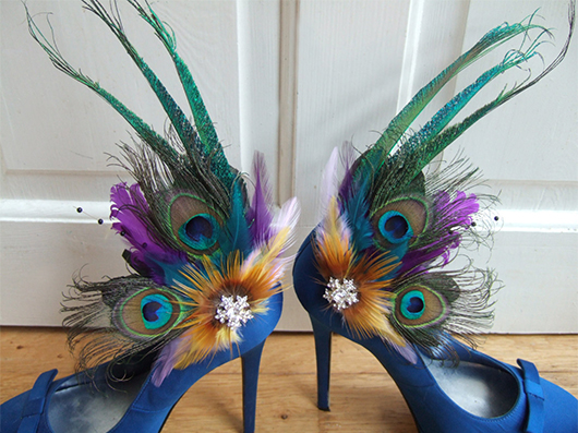 Purple Green Peacock Shoe Clips. Mardi Gras Outfits. Mardi Gras Wedding theme. Ideas for a Mardi Gras Wedding. Mardi Gras Bride