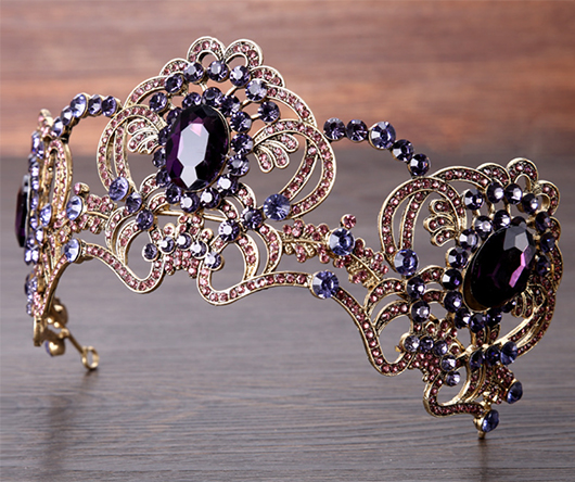 Bridal Crown, Bridal Tiara, Purple Tiara, Mardi Gras Tiara. Mardi Gras Wedding Ideas