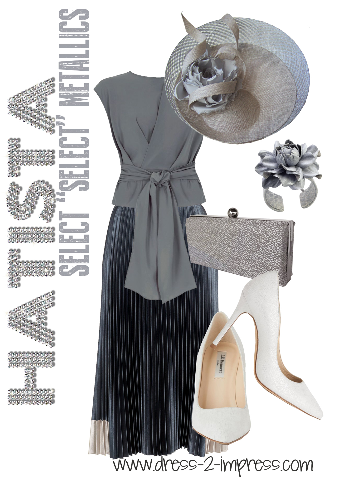 How to Wear Silver for Daywear - What to wear to Royal Ascot. What to wear for the Kentucky Derby. What to wear to the Races. Ted Baker Pleated Midi Skirt 2020. Philip Treacy Hats. Mother of the Bride hats. How to wear the Metallics trend. Tips on Wearing Metallics #fashion #metallics #philiptreacy
