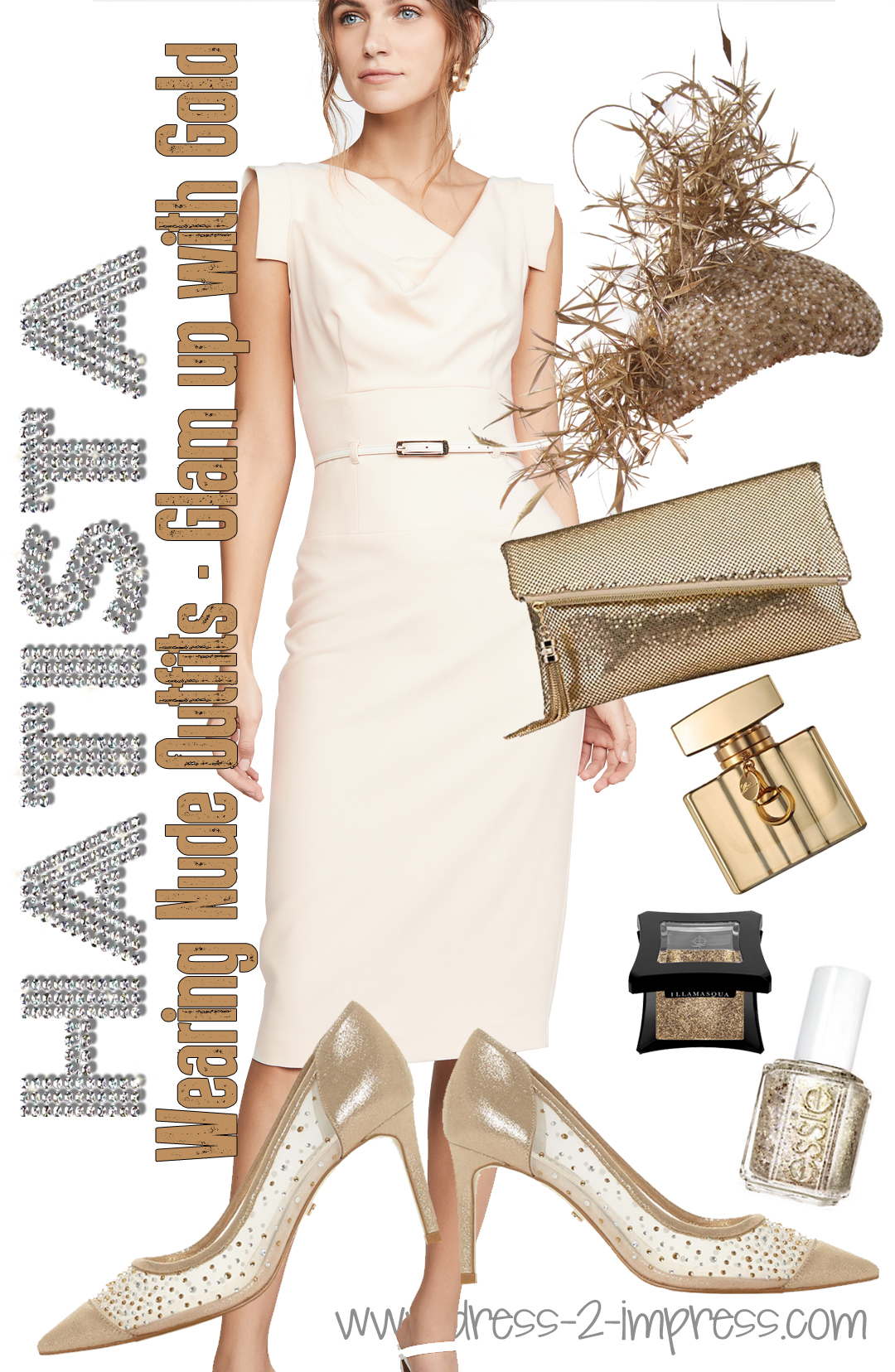 How to wear Metallics for daywear, What to wear with a Nude Dress. What to wear to Royal Ascot. Hervé Léger Marina Dress. Outfit ideas for Winter Weddings, Melbourne Cup Outfits. Mother of the Bride Outfits ideas from THE HATISTA www.dress-2-impress.com. What to wear to the Races. #wearmetallics #kentuckyderby #motherofthebride #ascothats #derbyhats