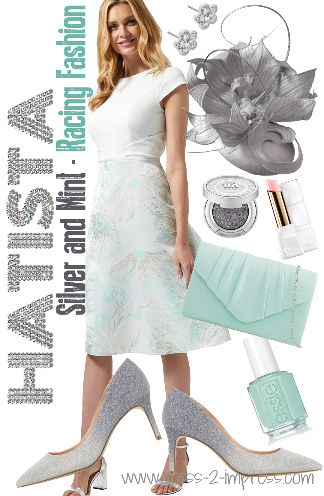 Fashion ideas for Ladies Day at the races 2021. What to wear to Royal Ascot 2021. Fashion inspiration for Royal Ascot 2021. What to wear for the Dubai World Cup 2021. What to wear with a Silver Dress. What to wear for the Epsom Derby 2021. How to wear Mint. Mint and Silver outfit inspiration. #ladiesday #ascotoutfits #outfitideas #fashionista #ontheblog