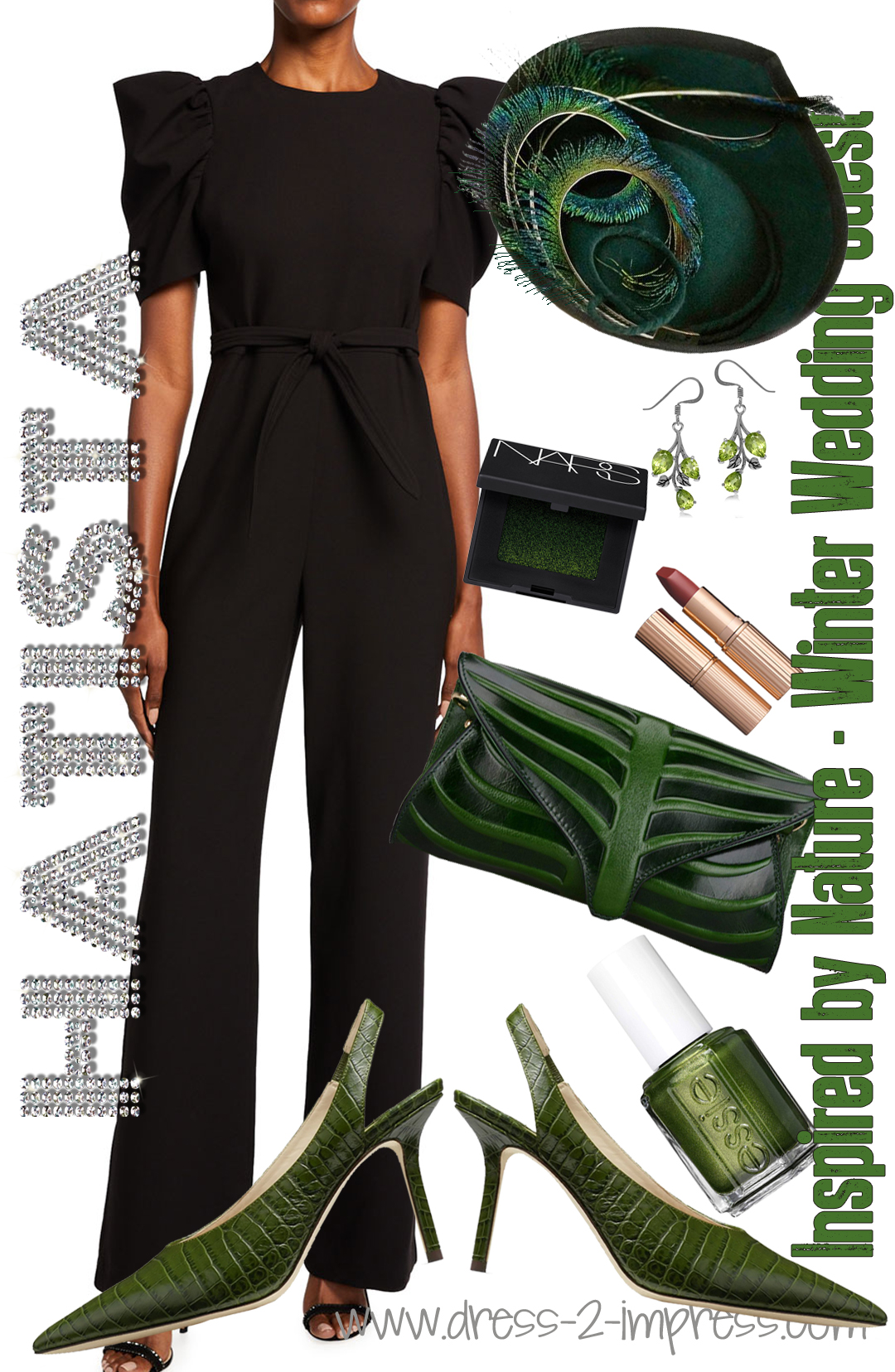 How to Wear Green. What to wear with Dark Green. Autumn Wedding Guest Outfits. Fall Wedding outfits. Peacock Feather Hats for Winter, Green and Black Clutch Bags, Autumn Fashion outfit ideas. Black Tadashi Shoji Dress. Little Black dress for Autumn outfits.