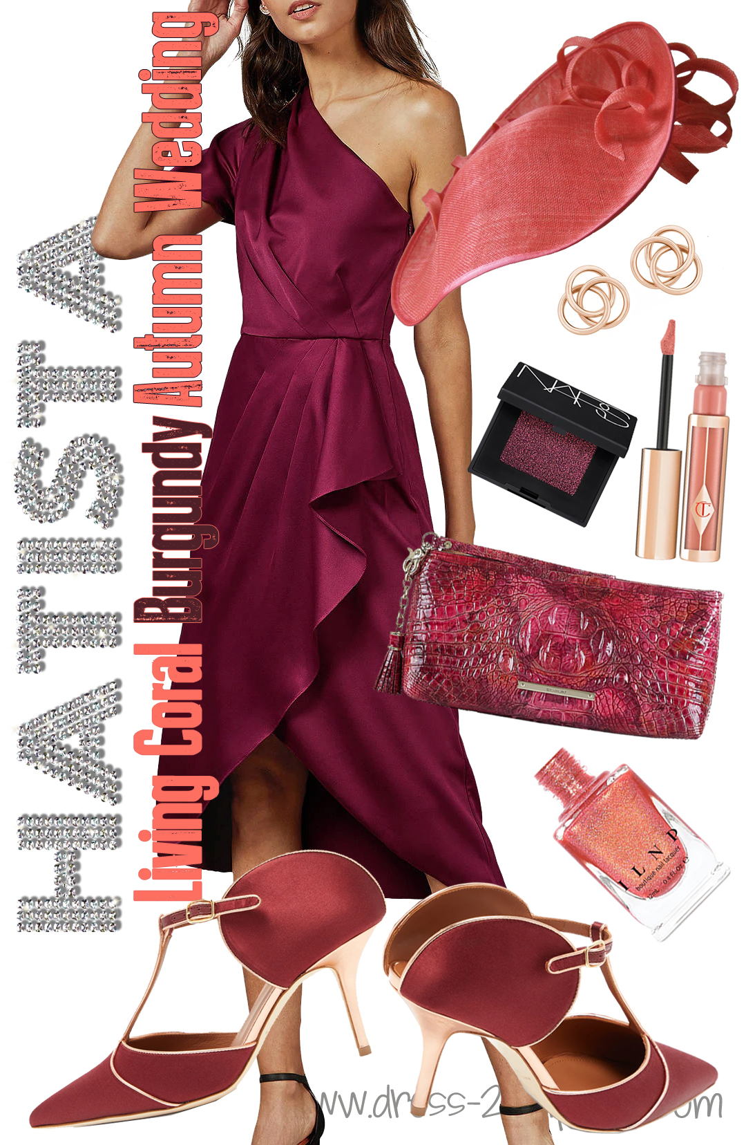 How to Wear Coral, What to wear with Burgundy, What colours go with Coral. What to wear with a Burgundy Dress. Autumn Wedding Guest Outfits 2020. Autumn Outfits with Living Coral. Pantone Color of the Year 2020, Living Coral. Winter wedding guest outfits. What to wear to a late winter wedding #livingcoral